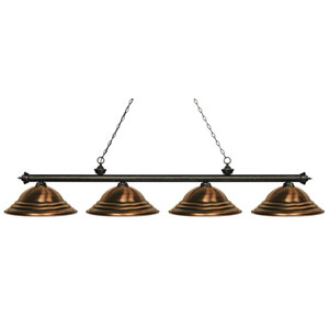 Riviera Golden Bronze Four-Light Billiard Pendant with Stepped Antique Copper Shades