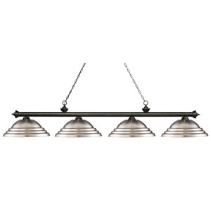 Riviera Golden Bronze Four-Light Billiard Pendant with Stepped Brushed Nickel Shades