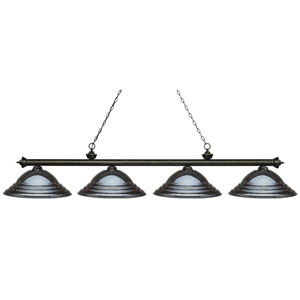 Riviera Golden Bronze Four-Light Billiard Pendant with Stepped Gun Metal Shades