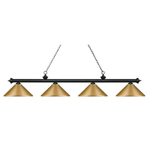 Riviera Matte Black 14-Inch Four-Light Island Pendant with Satin Gold Metal Shade