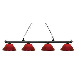 Riviera Matte Black Four-Light Billiard Pendant with Red Plastic Shades