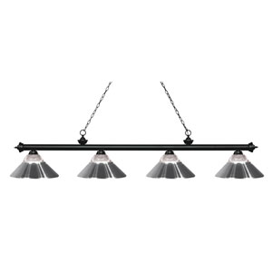 Riviera Matte Black Four-Light Billiard Pendant with Clear Ribbed Glass and Chrome Shades