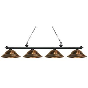 Riviera Matte Black Four-Light Billiard Pendant with Stepped Antique Copper Shades