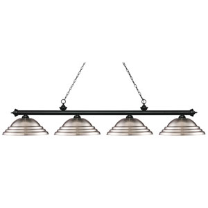 Riviera Matte Black Four-Light Billiard Pendant with Stepped Brushed Nickel Shades