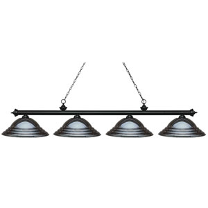 Riviera Matte Black Four-Light Billiard Pendant with Stepped Gun Metal Shades