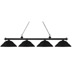 Riviera Matte Black Four-Light Billiard Pendant with Stepped Matte Black Shades