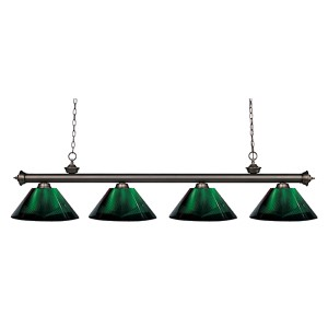 Riviera Olde Bronze Four-Light Pendant with Green Shade