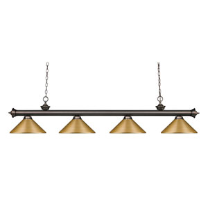 Riviera Olde Bronze 14-Inch Four-Light Island Pendant with Satin Gold Metal Shade