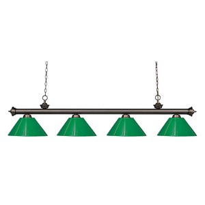 Riviera Olde Bronze Four-Light Pendant with Green Plastic Shade
