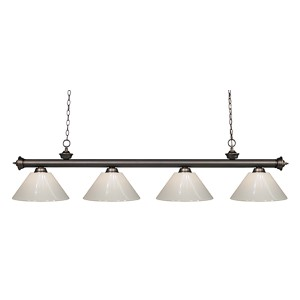 Riviera Olde Bronze Four-Light Pendant with White Plastic Shade