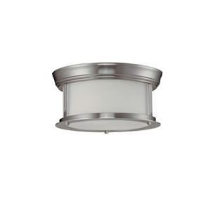 Sonna Two-Light Brushed Nickel Flush Ceiling Fixture with Matte Opal Glass