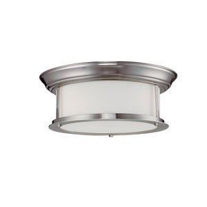Sonna Two-Light Large Brushed Nickel Flush Ceiling Fixture with Matte Opal Glass