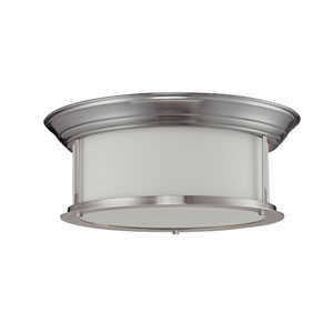 Sonna Three-Light Brushed Nickel Flush Ceiling Fixture with Matte Opal Glass