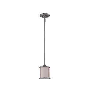 Sonna One-Light Brushed Nickel Mini Pendant with Matte Opal Glass Shade