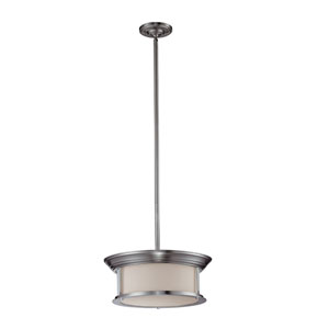 Sonna Three-Light Brushed Nickel Pendant with Matte Opal Glass Shade