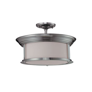 Sonna Three-Light Brushed Nickel Semi-Flush Mount with Matte Opal Glass
