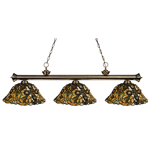 Riviera Antique Brass Three-Light Billiard Light with Multi-Colored Tiffany Shade
