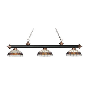 Riviera Matte Black and Antique Copper Three-Light Pendant with Rounded Tiffany Glass