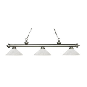 Riviera Antique Silver Three-Light Pendant with Angle White Linen Glass