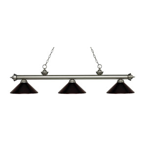 Riviera Antique Silver Three-Light Pendant with Bronze Metal Shades