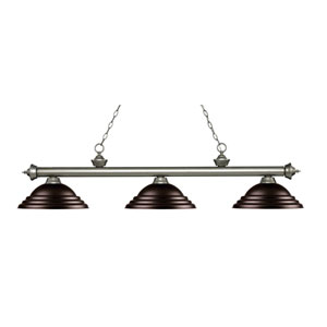 Riviera Antique Silver Three-Light Pendant with Stepped Bronze Metal Shades
