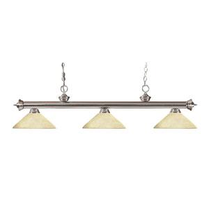 Riviera Brushed Nickel Three-Light Billiard Pendant with Angle Golden Mottle Glass
