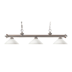 Riviera Brushed Nickel Three-Light Billiard Pendant with Angle Matte Opal Glass