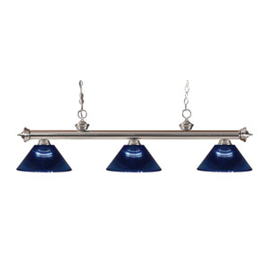 Riviera Brushed Nickel Three-Light Billiard Pendant with Dark Blue Acrylic Shades