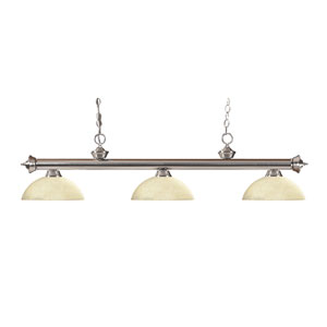 Riviera Brushed Nickel Three-Light Billiard Pendant with Dome Golden Mottle Glass