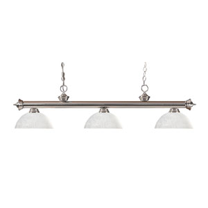 Riviera Brushed Nickel Three-Light Billiard Pendant with Dome White Linen Glass