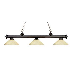 Riviera Bronze Three-Light Billiard Pendant with Angle Golden Mottle Glass