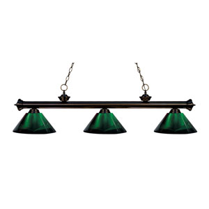 Riviera Bronze Three-Light Billiard Pendant with Green Acrylic Shades