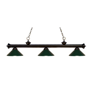 Riviera Bronze Three-Light Billiard Pendant with Dark Green Metal Shades