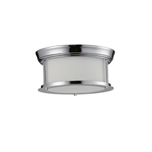 Sonna Two-Light Chrome Flush Ceiling Fixture with Matte Opal Glass