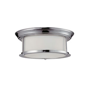 Sonna Two-Light Large Chrome Flush Ceiling Fixture with Matte Opal Glass
