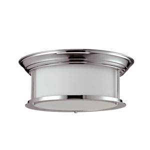 Sonna Three-Light Chrome Flush Ceiling Fixture with Matte Opal Glass