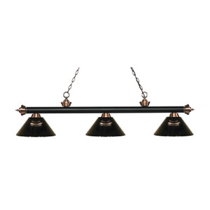 Riviera Matte Black and Antique Copper Three-Light Pendant with Smoke Acrylic Shades
