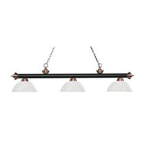 Riviera Matte Black and Antique Copper Three-Light Pendant with Dome White Linen  Glass