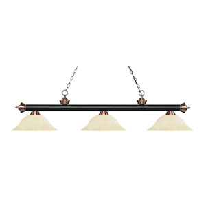 Riviera Matte Black and Antique Copper Three-Light Pendant with Golden Mottle Glass