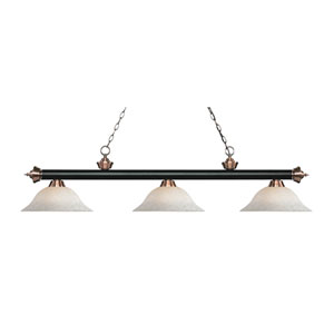 Riviera Matte Black and Antique Copper Three-Light Pendant with White Mottle Glass
