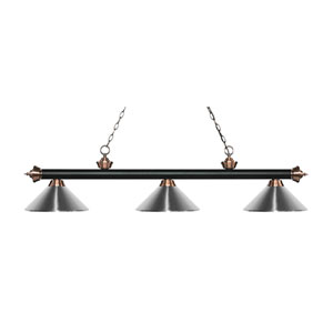Riviera Matte Black and Antique Copper Three-Light Pendant with Chrome Metal Shades