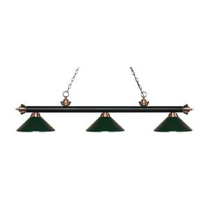 Riviera Matte Black and Antique Copper Three-Light Pendant with Dark Green Metal Shades