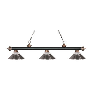 Riviera Matte Black and Antique Copper Three-Light Pendant with Brushed Nickel Shades