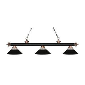 Riviera Matte Black and Antique Copper Three-Light Pendant with Matte Black Shades
