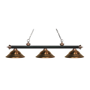 Riviera Black and Antique Copper Three-Light Pendant with Antique Copper Metal Shades