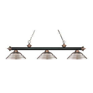 Riviera Black and Antique Copper Three-Light Pendant with Stepped Metal Shades