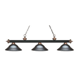 Riviera Black and Antique Copper Three-Light Pendant with Stepped Gun Metal Shades