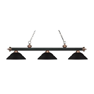 Riviera Black and Antique Copper Three-Light Pendant with Stepped Black Metal Shades