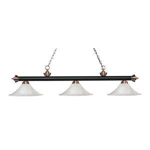 Riviera Matte Black and Antique Copper Three-Light Pendant with Fluted White Mottle Glass