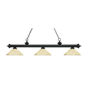 Riviera Matte Black Three-Light Pendant with Angle Golden Mottle Glass